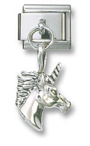 Unicorn Italian Charm Dangle Sterling Silver 9 mm Stainless Steel Bracelet Link