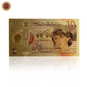 WR-24K-Gold-Color-Princess-Diana-Commemorative-10-Ten-Pound-Note-Bank-Of-England
