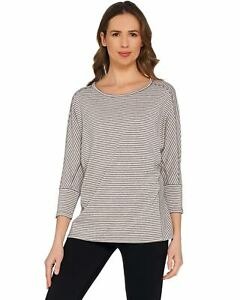 AnyBody-Womens-Cozy-Knit-Striped-Dolman-Sleeve-Top-X-Small-Pink-A302404