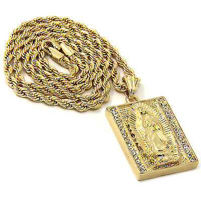 """Mens Gold Iced Square Virgin Mary Pendant 30"""" Rope Chain Hip Hop Necklace D814"""