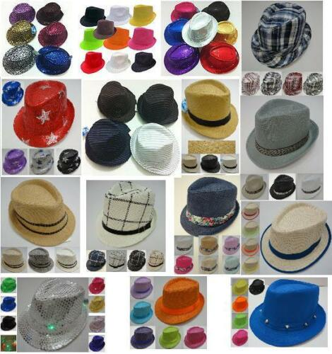 12PC FEDORA HAT TRILBY GANGSTER BUCKET BULK WHOLESALE LOT NEON SOLID & MORE