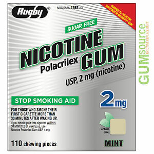 Details about Rugby Nicotine Gum 2mg Uncoated Mint 1 box 110 pieces