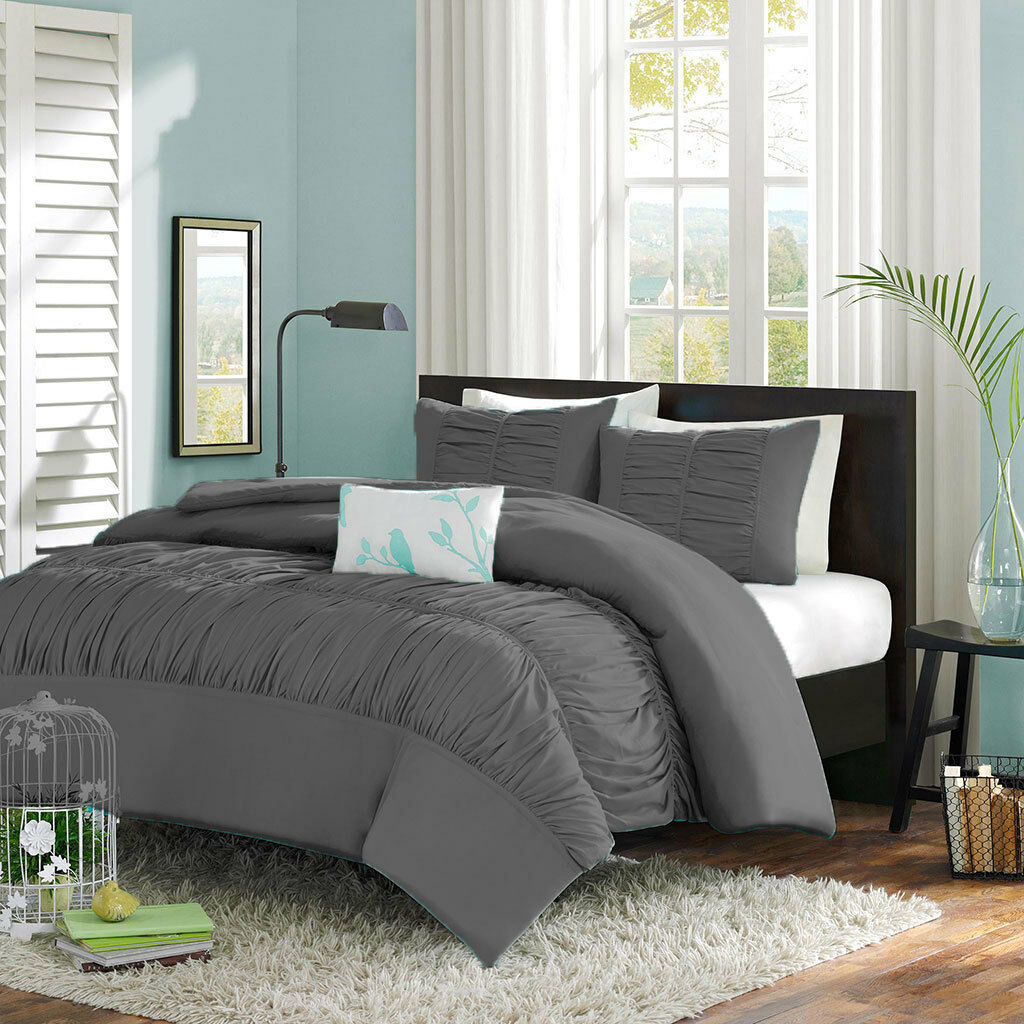 3 Piece Center Gathered Ruffle Duvet Set 100% Egyptian Cotton All size & color