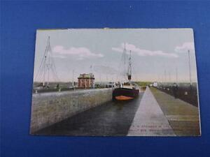 CPR-POSTCARD-CANADIAN-PACIFIC-RAILWAY-STEAMER-SHIP-IN-LOCK-AT-SAULT-STE-MARIE