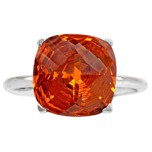 Padparadscha Saphir Coussin Forme 925 Sterling Silver Ring Jewelry DRR1097/_D