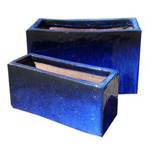 59cm glazed trough blue garden planter window box plant for 100 cm window box