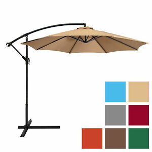 BCP-10ft-Offset-Hanging-Market-Patio-Umbrella-w-Tilt-Adjustment-Hand-Crank