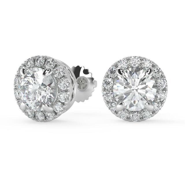 Mens Womens 14k White Gold Over Screw Back Square VVS1 Diamond Stud Earrings