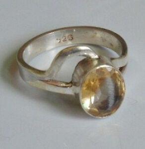 Sterling-Silber-ethno-asiatische-Vintage-Style-gelb-Quarz-Ring-Groesse-Q-1-2-Geschenk