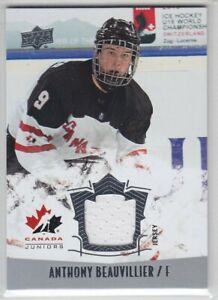 2015-16-UD-CANADA-JUNIORS-ANTHONY-BEAUVILLIER-JERSEY-GAME-USED-Upper-Islanders