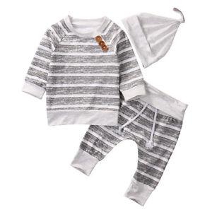 e05ffdd9ade9e 3PCS Newborn Baby Boy Girl Clothes Cotton T-shirt Tops+Pants+Hat ...