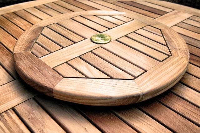 Teak Wood Lazy Susan Outdoor Turntable 20 Inch Diameter Table Umbrella Hole Cap