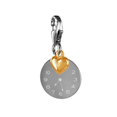 Charm Anhänger Taufuhr//Geburtsuhr persönliche Gravur-Silber 925-Neu