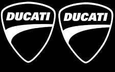 "2X Ducati White Vinyl Sticker Decal 4"" Logo Racing"