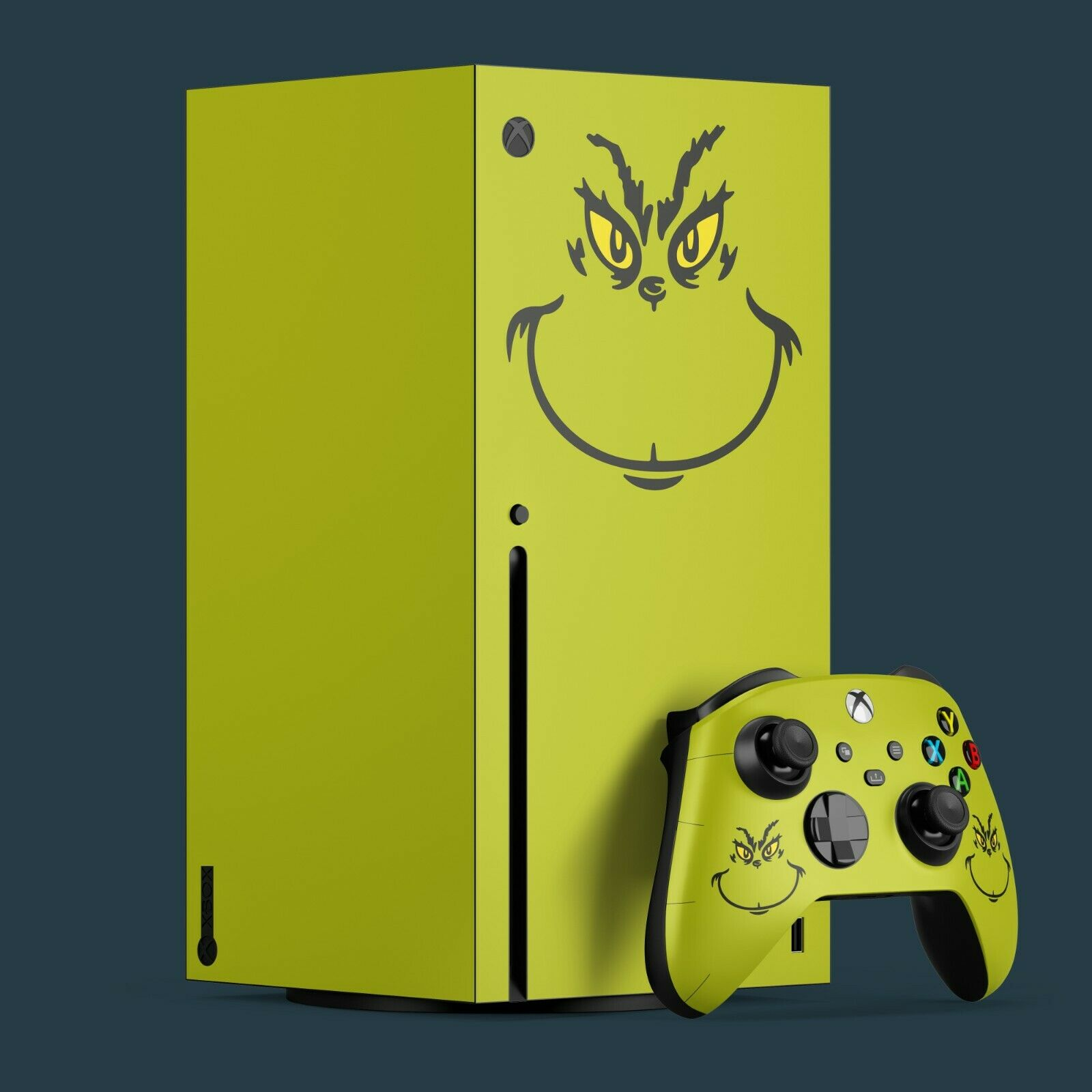 Xbox Series X Vinyl Skin & 2x Controller Vinyl Skins, The Grinch Themed.