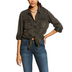 acc71f7d Image is loading Ariat-Ladies-Fade-Black-Grey-Button-Shirt-10024159