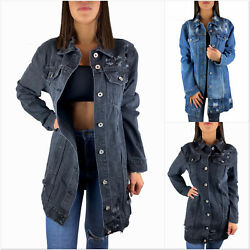DAMEN JEANSJACKE LANG OVERSIZE GRAU BLAU DESTROYED JACKE DENIM MANTEL S-XL 36-44
