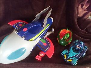 6 PC PJ Masks Adventure HQ Rocket Cat Boy Gecko Owlette Vehicles & Figures LOT