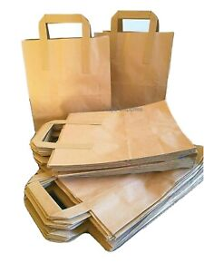 50 Medium  Brown Kraft Craft Paper Carrier Bags with Flat Handles LUNCH DINNER