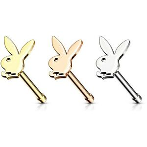 Details about PLAYBOY BUNNY NOSE RING BONE SURGICAL STEEL PIERCING JEWELRY  (20 Gauge 1/4