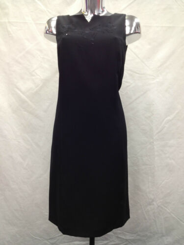 Womens Ladies Plain Black Elegant Dress with Embroidery /& Sequins around Neck