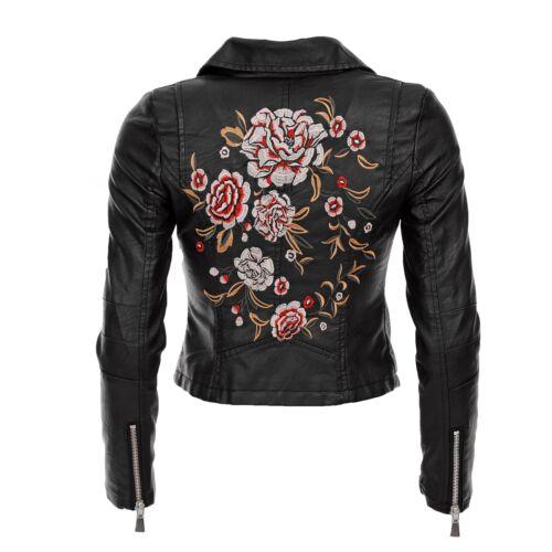Damen Kunstleder Jacke Übergangs Bikerjacke Luxus Motorradjacke Blumen 8A107