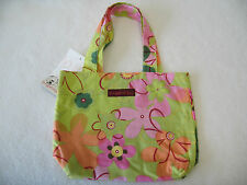 CUTE Bungalow 360 Green Floral Print Small Reversible Tote Bag NEW! 10.5 x 8.5
