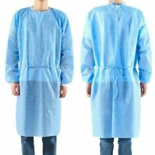 10 Medical Dental Disposable Isolation Gowns Elastic Cuffs Blue