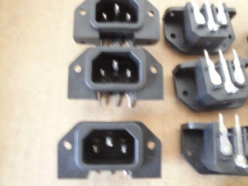 10 Ea PC Mount IEC Power Inlet 10-15A Male Receptacle Socket