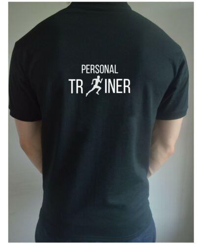 Back Print Black Printed Personal Trainer Polo T Shirt Gym Workout Training PT