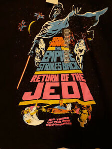 Star-Wars-Trilogy-Movie-Poster-Large-T-Shirt-Black-Retro-Look-Mens-Womens-NWT