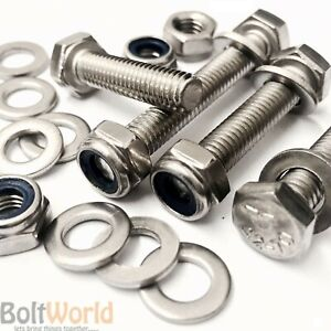 M8 x 45mm A2 STAINLESS STEEL HEX HEAD SET SCREWS//BOLTS NYLOC NUTS /& WASHERS