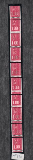 MARIANNE BEQUET - 1 F rouge - ROULETTE n° 68 avec variété TP coupés -