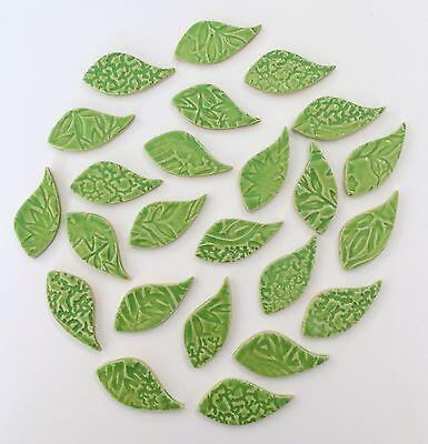 "25 - 2"" Lime Ceramic Leaf Mosaic Tiles - High Fired"