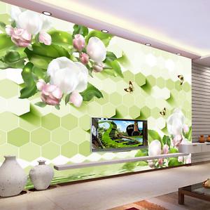 3D White Petal Green Leaves 28 Wall Paper Wall Print Decal Wall AJ WALLPAPER CA