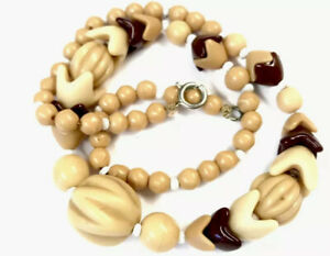 Vintage CREAM & CHOCOLATE Glass Bead 16.5 Inch Necklace GIFT BOXED