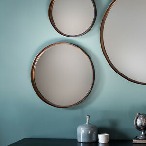 Greystoke-Set-of-4-Bronze-Round-Wall-Overmantle-Metal-Antique-Style-Mirrors-16-034