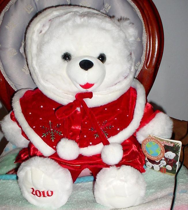 2010 WalMART CHRISTMAS Snowflake TEDDY orso bianca Girl 20  rosso Dress Hat nuovo.