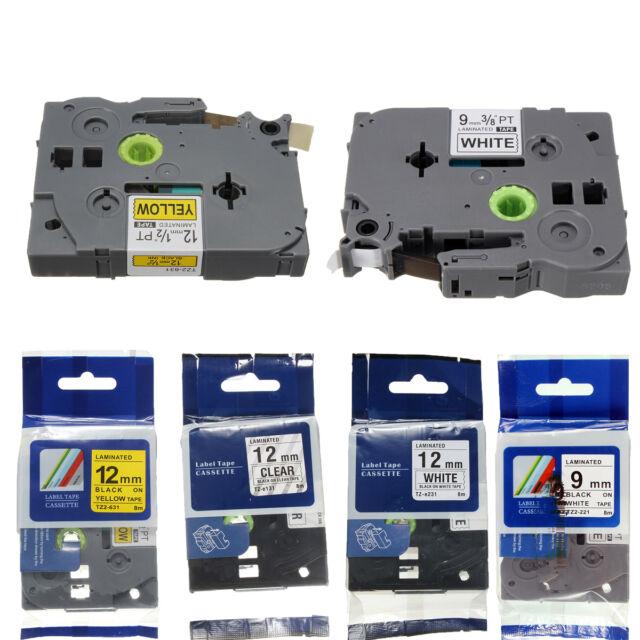 3 Colores Cassette Cinta Etiqueta Label Tape Para Brother 9mm 12mm TZe221 TZ-131