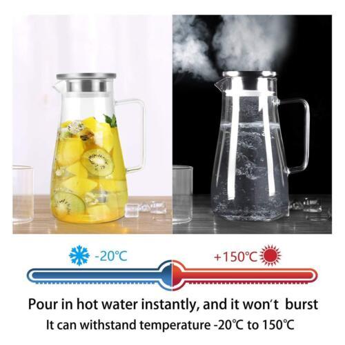 1,8L Glas Wasserkaraffe Wasserkrug Kühlkaraffe Saft 1800ML Glaskaraffe Deckel DE
