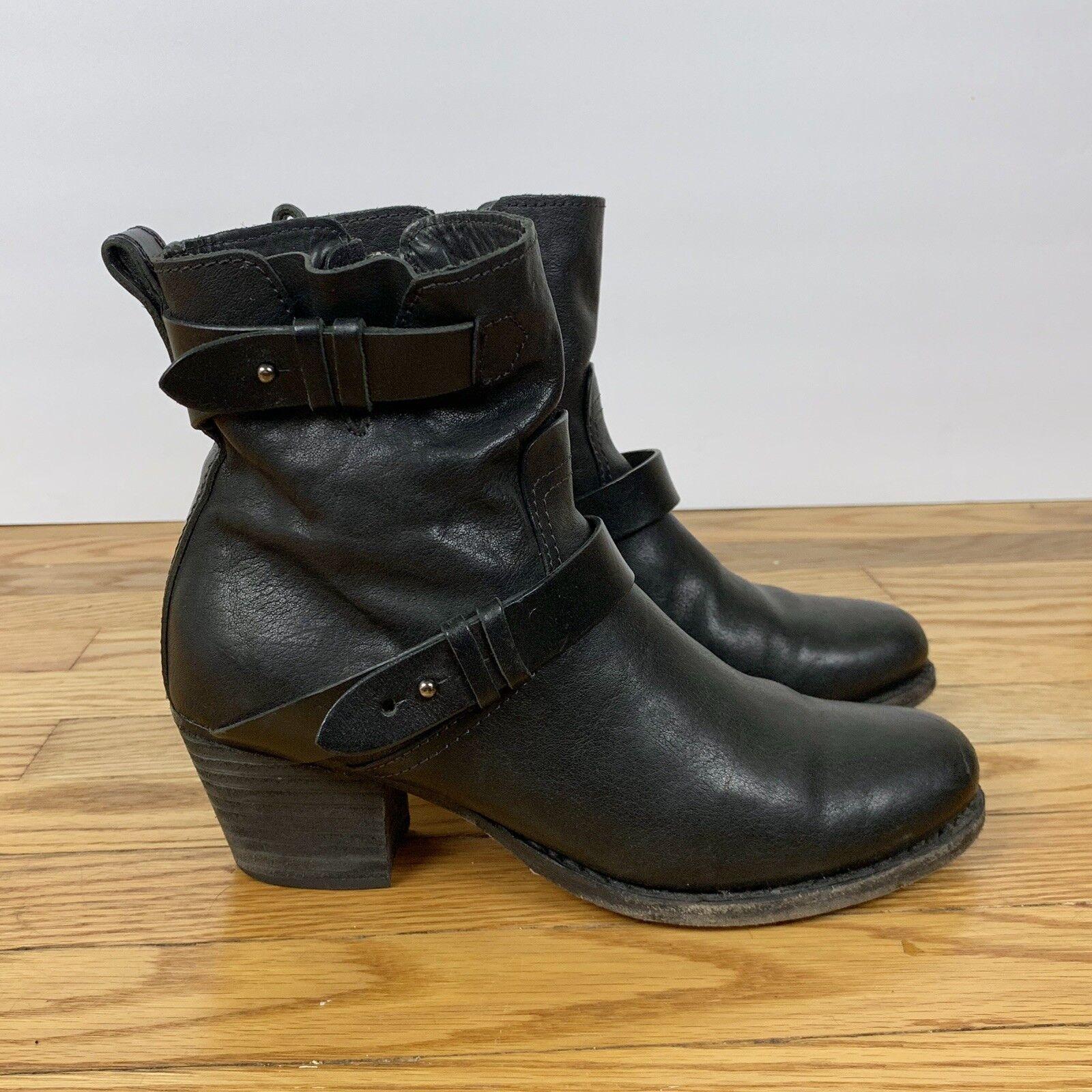 Rag & Bone 37 7 Black Leather Harper Moto Short Heeled Boots Booties  550