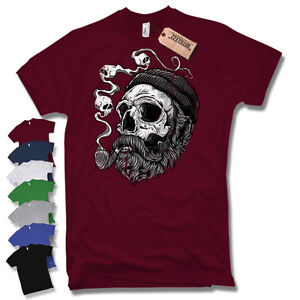 T-shirt-sailor-Beard-pirate-capitaine-skull-barbe-coton-noir-s-m-l-xl-xxl