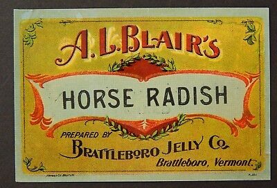 Horse Radish Label Circa 1920's Bind3#02 With The Best Service Search For Flights Battleboro Jelly Co Merchandise & Memorabilia