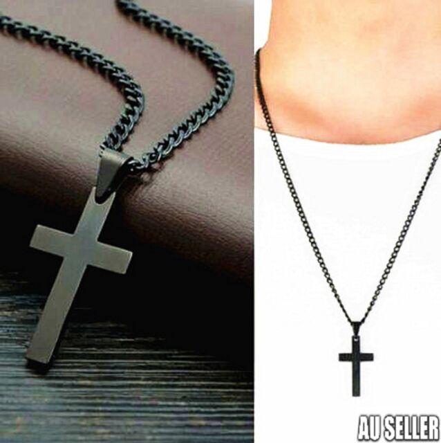 BU Stainless Steel Cross Pendant Men Women Chain Necklace Religious Jewelry