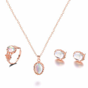 Women-Jewelry-Sets-Charm-Rose-Gold-Crystal-Opal-Necklace-Ring-Earring-Gift-New