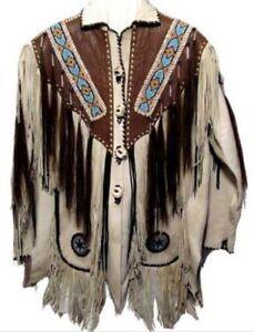 Mens-Cowboy-Jacket-Suede-Leather-Fringe-Beads-1980s-Western-Native-American-Coat