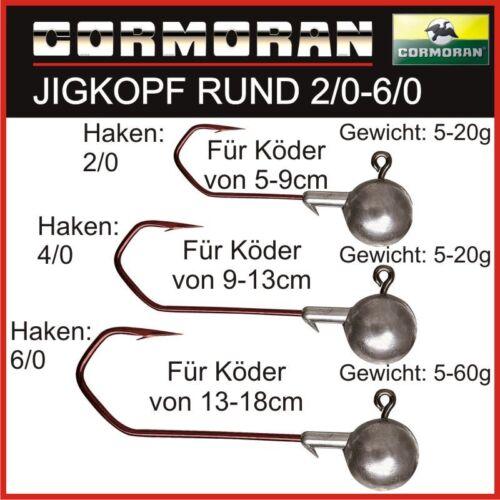 DAIWA CORMORAN 2-5St Jig Köpfe 2//0-6//0 5-60g Nach Wahl Jig Kopf Rundkopf