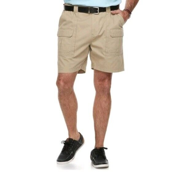 Men/'s New Big /& Tall  Size 46 Croft /& Barrow Beige Side Elastic Cargo Shorts