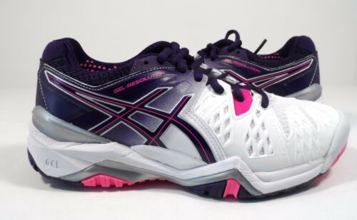 púrpura Asics resolución mujer gel con Zapatillas rosa de tenis de blanco para brillante 6 paracaídas 1Yq7xB
