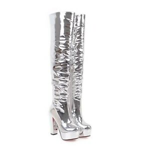 fc3466b12a2 Women s High Heel Platform Silver Synthetic Leather Over Knee Boots ...